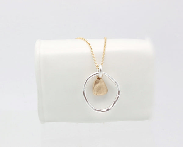 Solitary Pebble & Silver Link Necklace