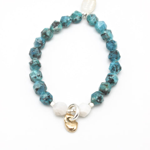 Lava Form Collection:  Teal Granite Stone & Bronze Pali Stretch Bracelet