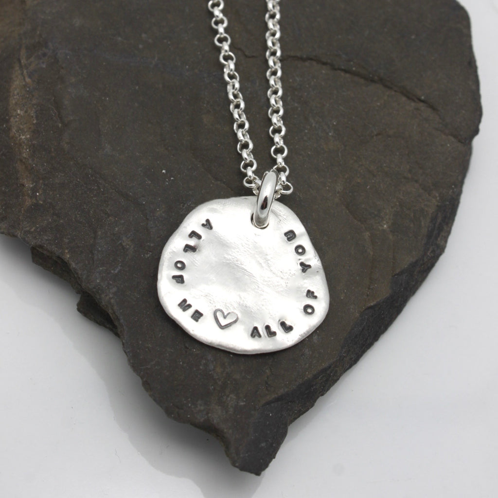 Freeform Fine Silver Solid Circle Pendant Personalized Necklace