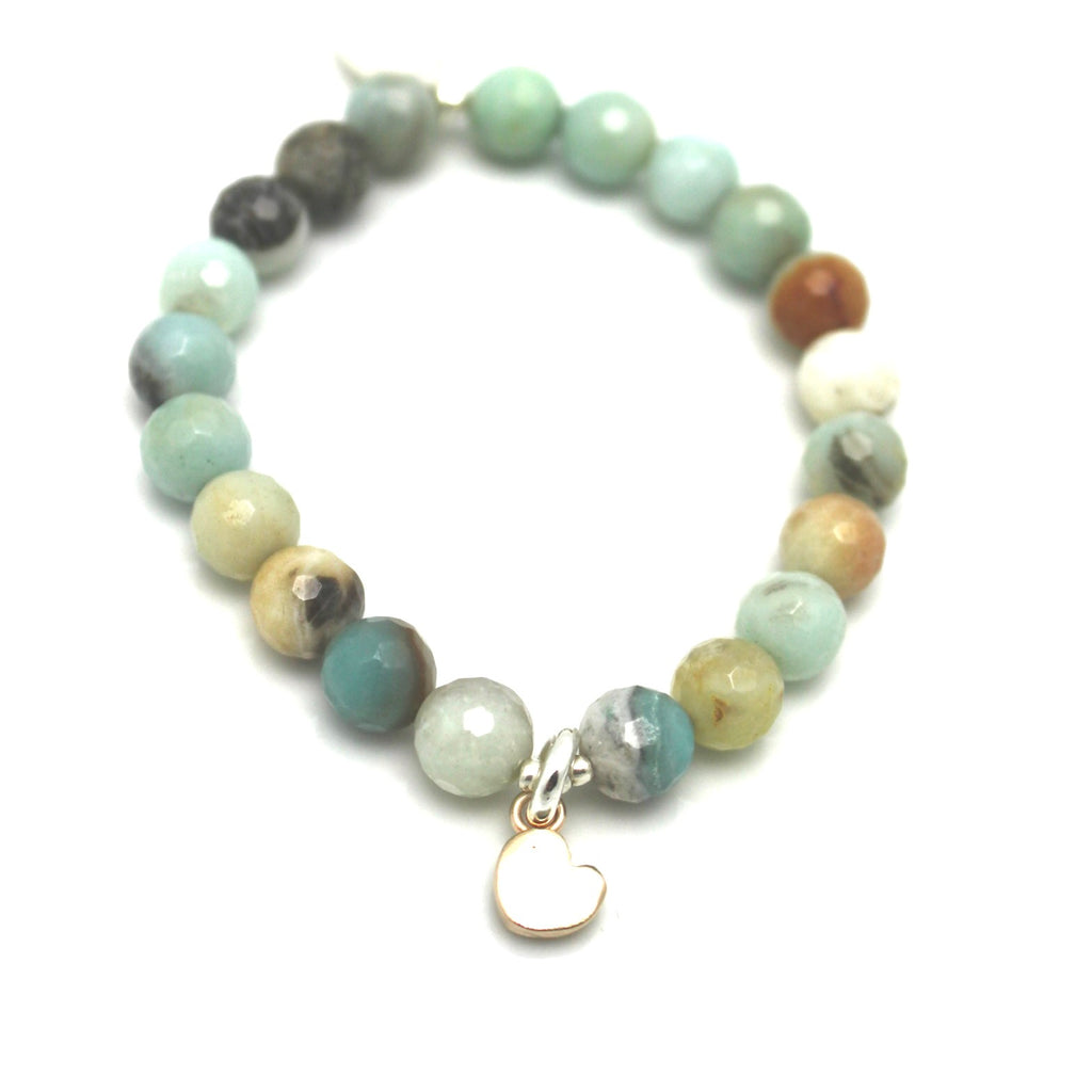 Amazonite Stone Stretch Bracelet with Bronze Petite Heart Pendant