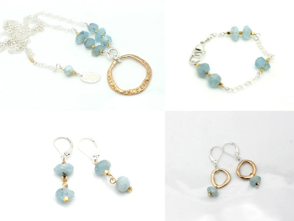 SOUL Collection Bronze Link & Aquamarine Earrings