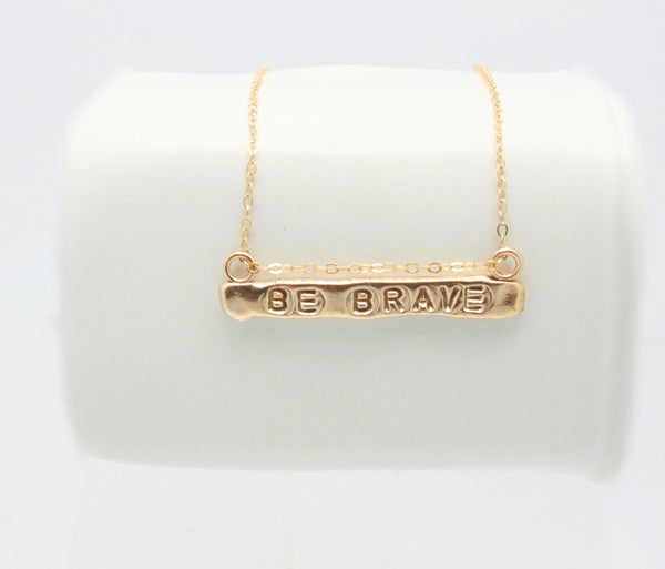 BE BRAVE  Bronze Bar Necklace