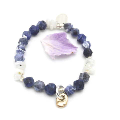Lava Form Collection:  Blue Sodalite & Bronze Pali Pendant Stretch Bracelet
