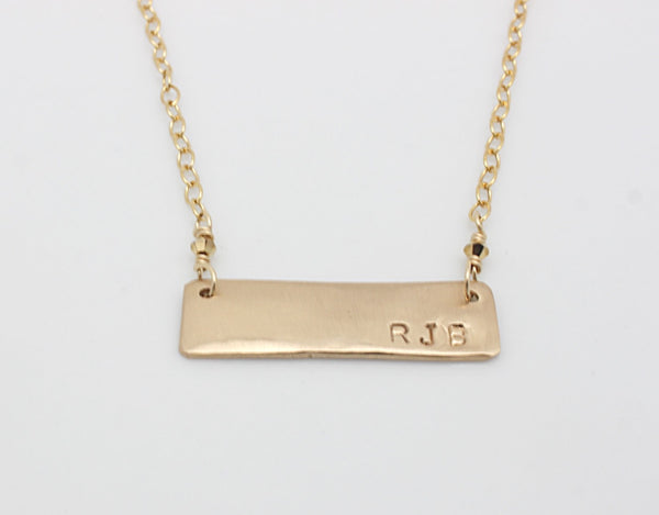 Rectangle Personalized Bar Necklace - Bronze