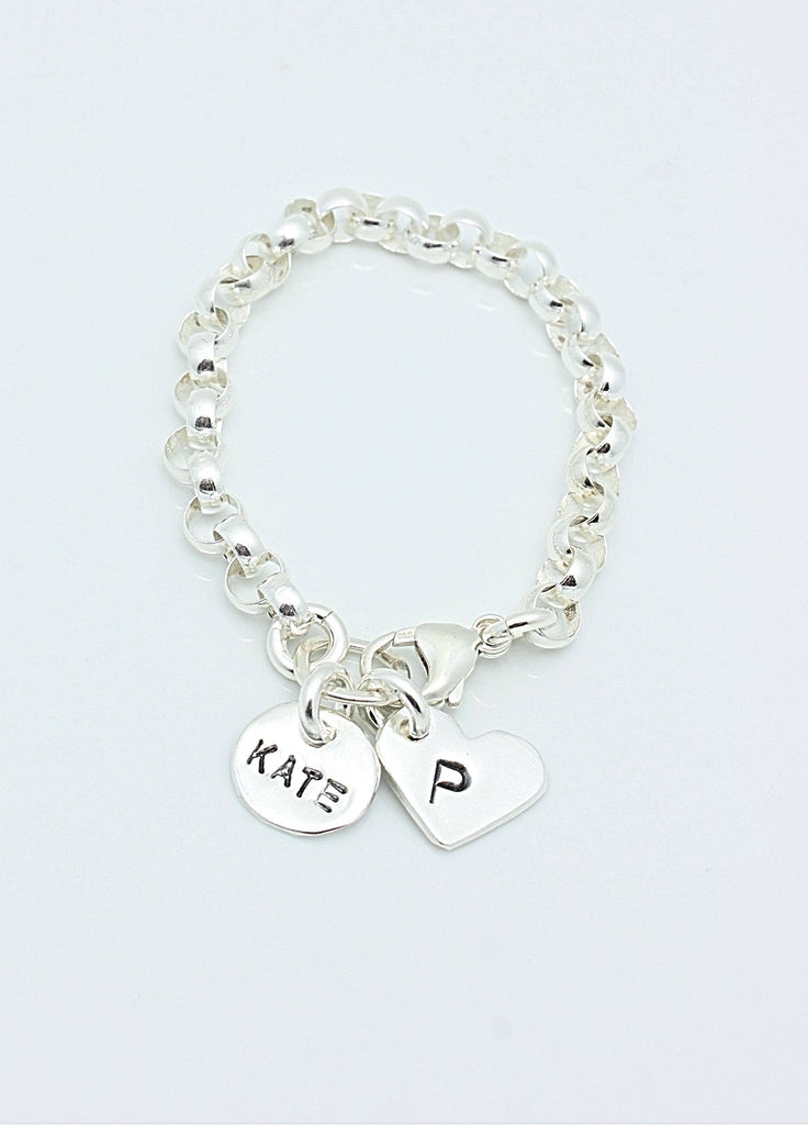 2 CHARMS: Circle & Heart Sterling Silver CHAIN Bracelet