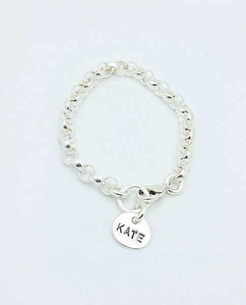 One Circle Fine Silver Charm Sterling Silver CHAIN Bracelet