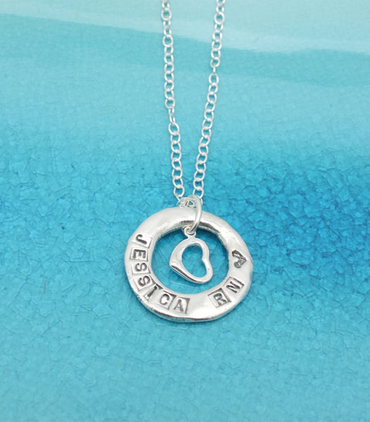 Single Ring & Heart Charm Personalized Necklace