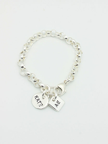 2 CHARMS: Circle & Square Charms CHAIN Bracelet