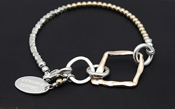 Cubist Collection: Gold & Fine silver Bracelet with Bronze Diamond Link