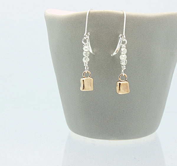 CUBIST Collection:  Bronze Cube & Silver Bead Earrings