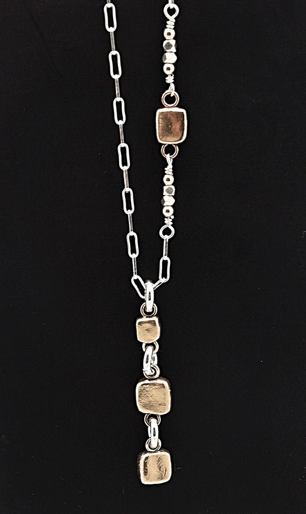Cubist Collection: 3 Cube Pendant Long Necklace