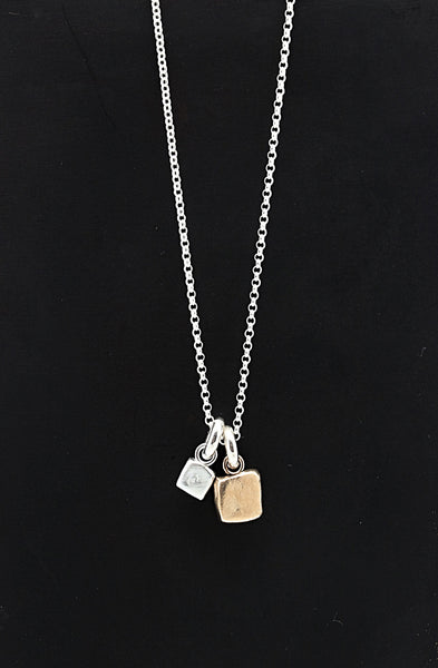 Cubist Collection: Angle Pendant & Fine Silver Cube Short Necklace