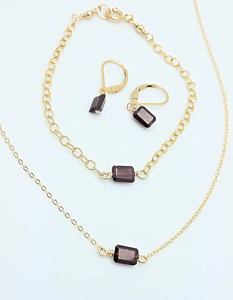 Cubist Collection:  Garnet Earrings