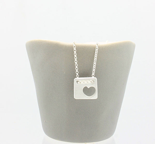 Cutout Heart Square Pendant Petite Stitch Necklace