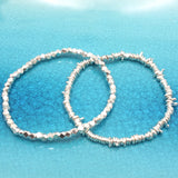 Faceted Fine Silver Stretch Bracelet NO Charm