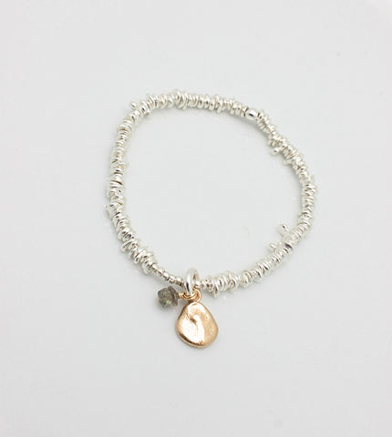 Freeform Fine Silver Nugget  Bracelet with  Bronze Pebble & Labradorite Charms