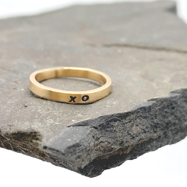 14 kt Solid Gold 2mm Personalized Stacking Ring