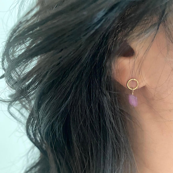 GOLD Elements: Raw Pink Sapphire & Gold Stud Earrings