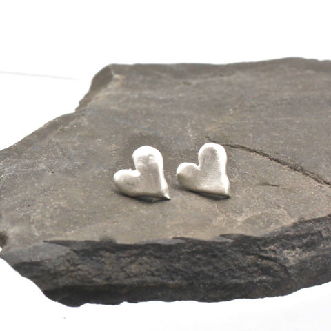 Freeform Silver Heart Studs