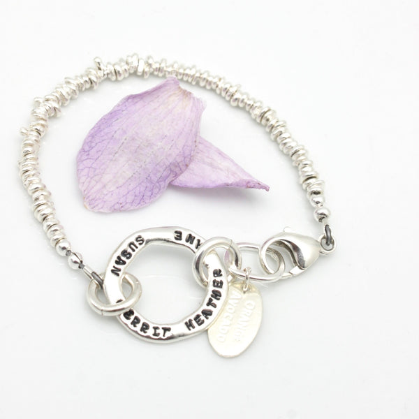 Circle Link Personalized Bracelet with Freeform Nuggets