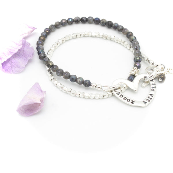 Personalized Fine silver Heart with Labradorite Double Wrap Bracelet