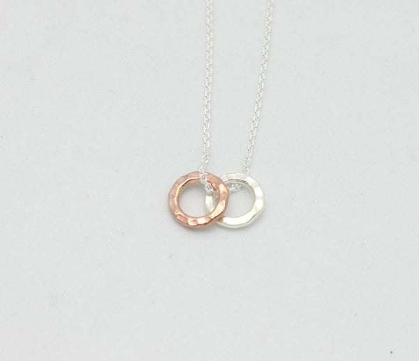 Rose Gold & Fine Silver Ring Necklace