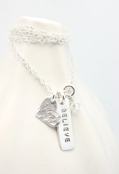 One Heart & One Rectangle Pendant Necklace