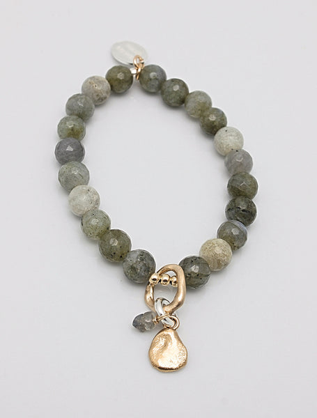 SCULPT Collection:  Labradorite Bead & Bronze Pebble