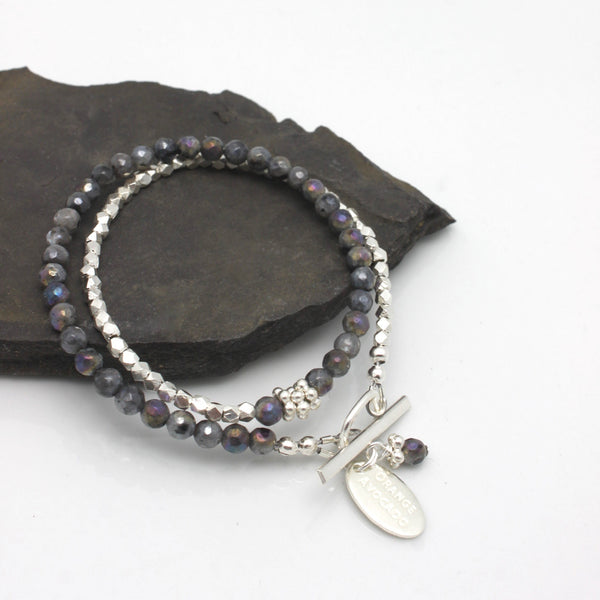 Molten Collection:  Labradorite & Fine Silver Double Wrap Bracelet