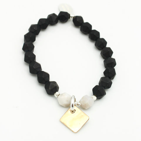 Contour Collection:  Matte Black Onyx Starcut Stretch Bracelet