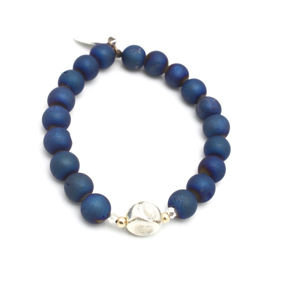Inner Spirit:  Deep Marine Blue Druzy Quartz Stretch Bracelet & Hammered Silver Bead