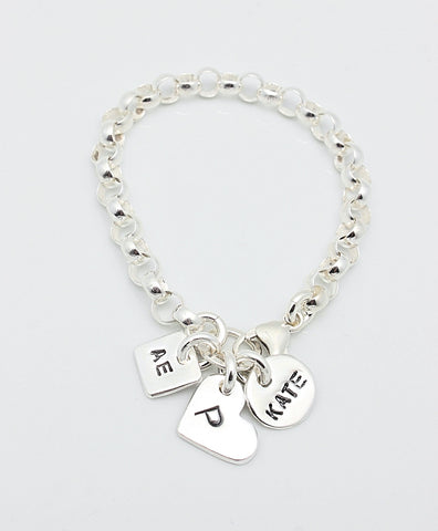 Three Fine Silver Charm Sterling Silver CHAIN Bracelet