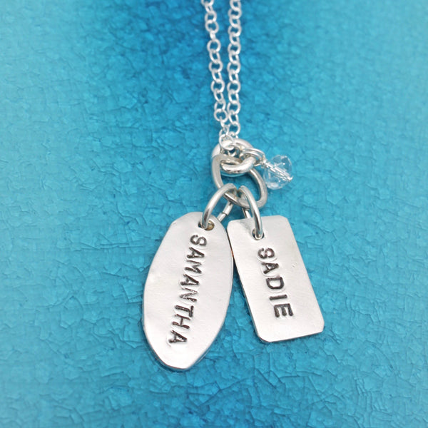 One Oval One Rectangle Personalized Necklace