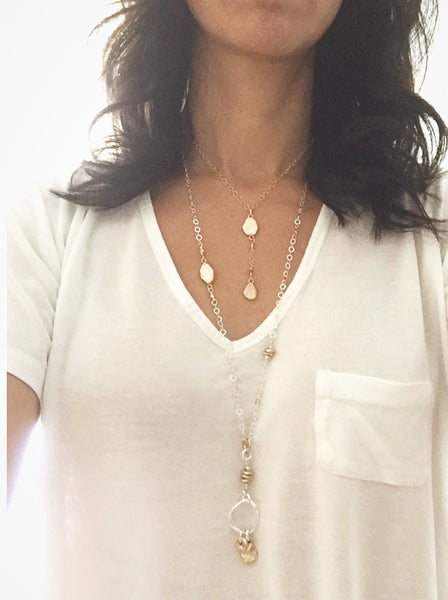 Pebble Lariat & Gold Chain Necklace