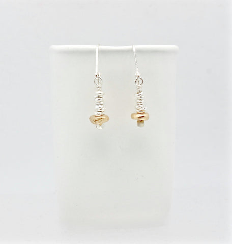 Bronze Pebble & Fine Silver Nugget Earrings
