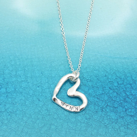 Silver Open Heart Personalized Necklace