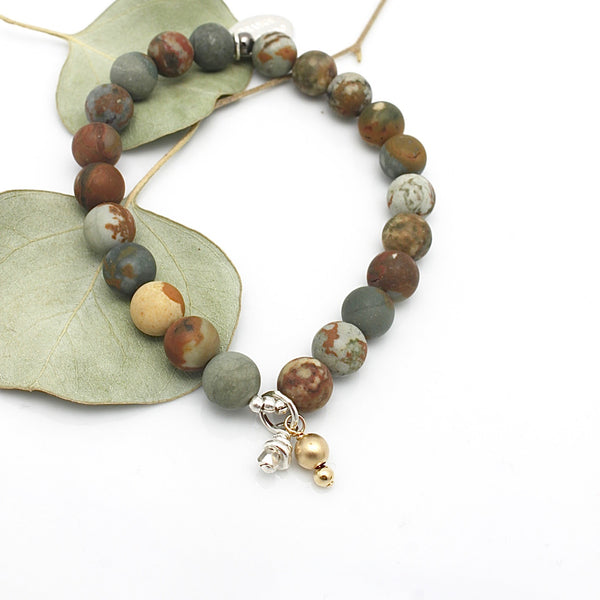 MOLTEN COLLECTION:  Rocky Butte Jasper Stone (8mm) Stretch Bracelet