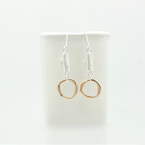 SCULPT Collection: Fine Silver Line & Bronze Link Earrings