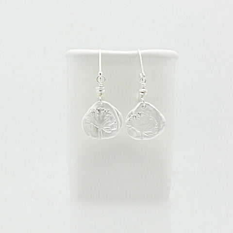 Fine Silver Etched Dandelion Earrings