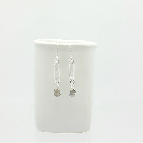 SCULPT Collection:  Fine Silver Line & Labradorite Earrings
