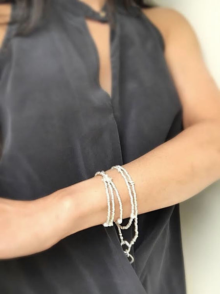 SILVER Collection: Silver Beaded Interlude Necklace or Wrap Bracelet