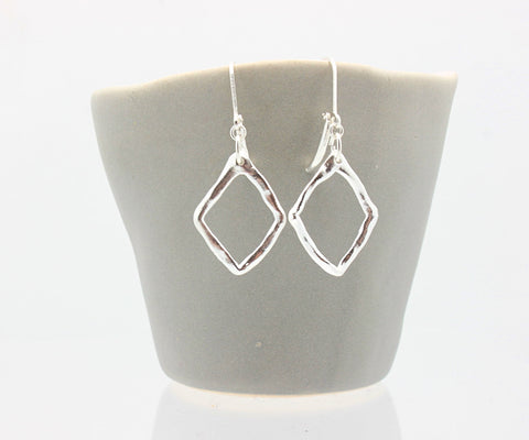 Diamond Pendant Earrings Fine Silver