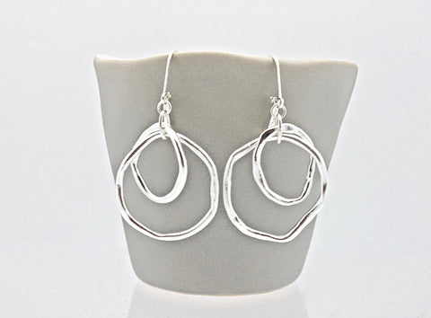 Fine Silver Large Entwined Cloud Link Earrings