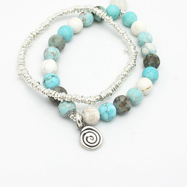 Athena Mixed Turquoise & Silver Labyrinth Stretch Bracelet