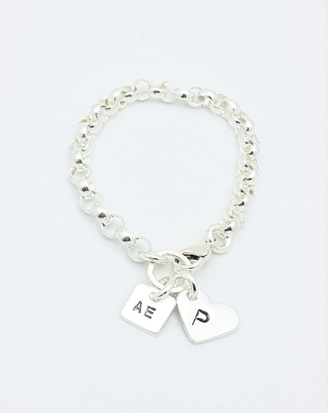 2 CHARMS: Square & Heart Sterling silver CHAIN Bracelet
