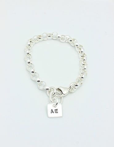 One Square Fine Silver Charm Sterling Silver CHAIN Bracelet