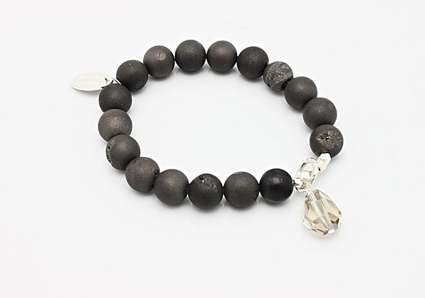 SCULPT Collection: Titanium Druzy Quartz Smokey Quartz Stretch Bracelet