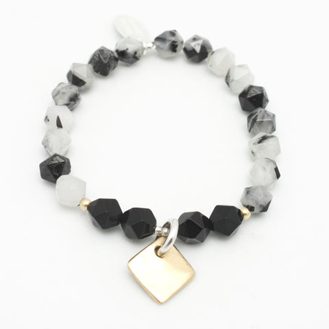 Contour Collection:  Black Rutilated Quartz Starcut Beaded Stretch Bracelet