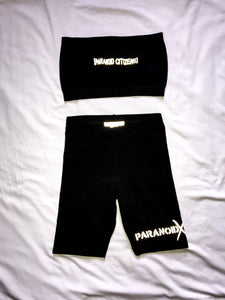 Paranoid Citizens Bandeau Biker Shorts - Black and White Shorts 2019