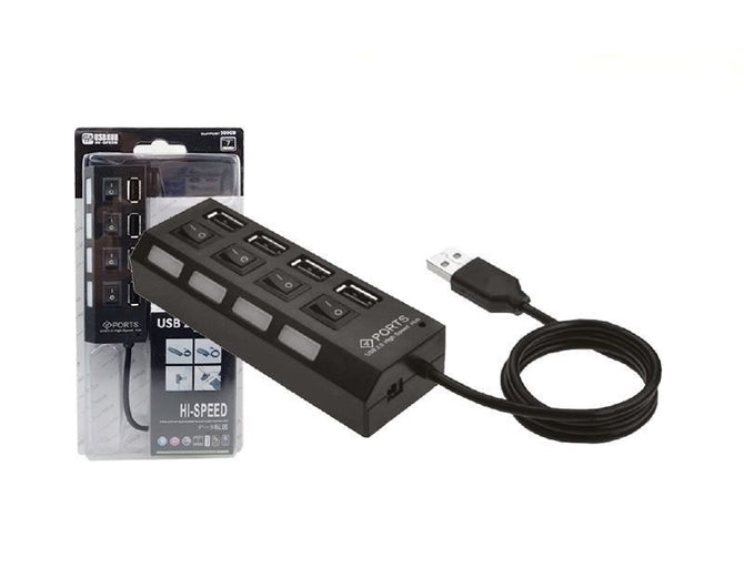 BRAND NEW 4 PORT USB HUB 2.0 WITH SWITCHES- HIGH SPEED- LIGHT INDICATORS